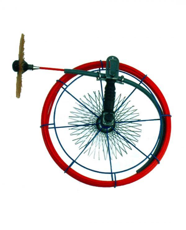 Veeghaspel met rode glasvezel stang