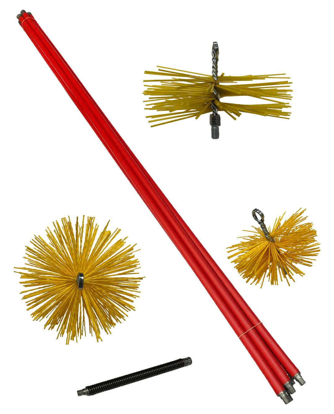 stokkenvegerset SV serie rood met nylon borstels