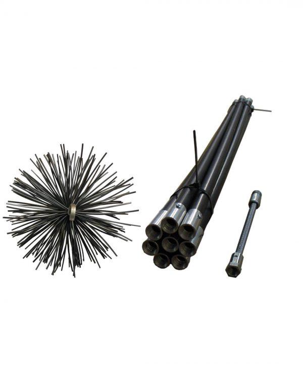 stokkenveger zwart met nylon borstel en veer